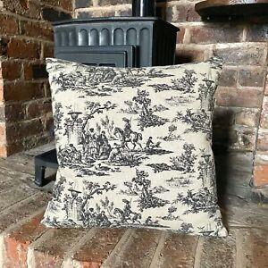 70. Black Toile De Jouy Handmade LINEN Cotton Cushion Cover