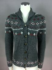 LORO PIANA Grey 100% Cashmere Embroidered Cardigan Sweater Italy Size 46 Woman's