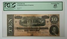 1864 $10 Confederate Note T-68 Pcgs Xf 45 #155851Jr