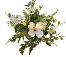 Artificial Floral Bush with White Dogwood Blooms, Fern Fronds, Greenery