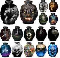 Cool Flame Poker Skull 3D Print Women/Men Hoodie Sweatshirt Pullover Jumper Coat