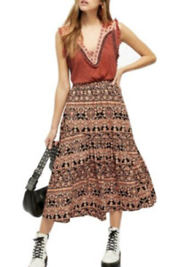 Free People All About the Tiers A-Line Skirt XS $128 New