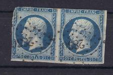 napoleon n°15  25 ct bleu 1854 PAIRE PC 2856 sans charniere, ni CLAIR BLUE STAMP