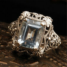 Noble Women Lady 925 Silver Rectangle White Topaz Gems Rings Jewelry Size 8