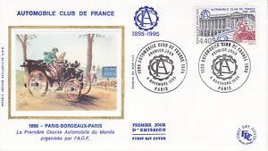 Enveloppe 1er jour FDC Soie 1995 - Automobile Club de France Paris-Bordeaux