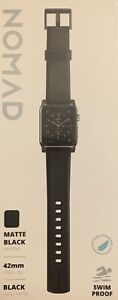 NOMAD Matte BLACK Apple WATCH Silicon BAND 42 mm HYPOALLERGENIC Stainless STEEL