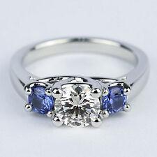Three Stone 1.00 Carat VS2/H Round Cut Diamond Engagement Ring 14K White Gold