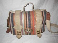 FOSSIL Long Live Vintage 1954 Striped Canvas Messenger Crossbody Purse Handbag