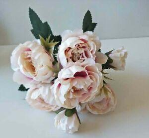 SILK FAKE FLOWERS BLUSH PINK MINI PEONY FLOWERS BUNCH RUSTIC WEDDING FLOWERS