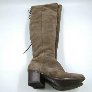 Womens Taupe Suede Leather Round Toe Block Heel Pull On Knee High Boots Size 8.5