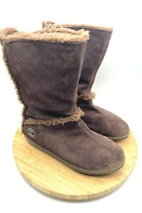 Timberland Womens Mukluk Brown Pull On Fur Snow Winter Boots Size US 8.5 #61-642