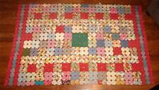 "Handcrafted Handfinished Vintage YoYo Quilt Remnant 29"" x 30"" Coverlet 1950s-60s"
