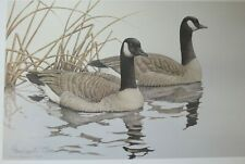 1987 TWO SWIMMING CANADAN GEESE SERGRAPH SIGNED SHERRIE RUSSELL