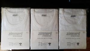 3x Zimmerli Herren T-Shirts weiß (L) Kurzärmel 207 Richelieu-Rippstoff Baumwolle