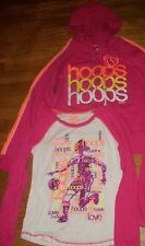 JUSTICE 2 PC. BASKETBALL HOOPS HOODIE TOP & SHIRT SET GIRLS OUTFIT SZ 12 14