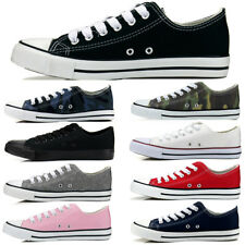 Womens Girls Sport Shoes Low Top Canvas Lace Up Sneakers Classic Casual Slip-On