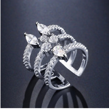 Ring Luxury Clear Micro Pave Zirconia Open Rings Fashion Crystal Copper Cuff