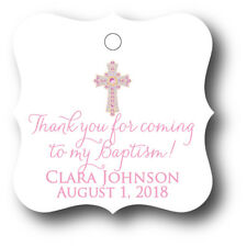 24 Thank you for coming to my Baptism! Personalized Favor Tag - Pink Girl