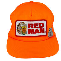 VINTAGE Red Man Chewing Tobacco Patch Orange Snapback Hat USA Trucker Cap