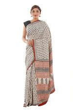 Indian Soft Beige Bhagalpuri Art Silk Saree Blouse Women Wear Bagru Printed Sari