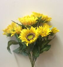 New 15in Tall Large Sunflower Bush Artificial Silk Flowers Plant / Bouquet