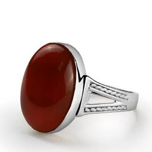 Natural Red AGATE Mens in 925 STERLING SILVER with Red Gemstone Ring for Men