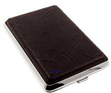 Cigarette Case - Mysmokingshop Black Design Leather Chrome King Size - NEW ksls9