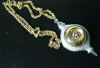 VINTAGE SARAH COVENTRY CHRISTMAS ORNAMENT PENDANT  GOLD TONE CHAIN NECKLACE