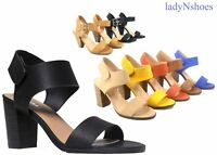 NEW Women's Open Toe Chunky Heel Ankle Strap Dress Sandal Shoes Size 5.5 - 11