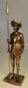 DON QUIXOTE STANDING W/ JOUSTING SPEAR Spanish Statue Antique Bronze Finish