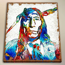 Art Print on Canvas Native American for Wall Decor Watercolor Painting 24x24