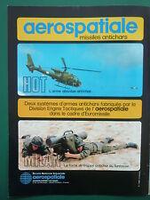 10/1982 PUB AEROSPATIALE ENGIN TACTIQUE ANTICHAR GAZELLE MISSILE HOT MILAN AD