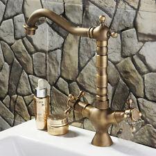 Antique Brass Dual Handles Bathroom&Kitchen Basin Mixer Taps Vessel Sink Faucet