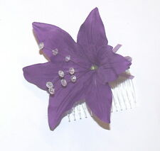 LARGE CADBURY PURPLE LILLY FLOWER, DIAMANTIES & PEARLS FASINATOR HAIR SLIDE
