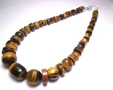 "JAY KING DTR TIGER EYE GRADUATED BEAD NECKLACE 18"" STERLING SILVER 925 119g"