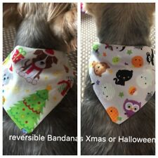 Small Reversible Dog Cat Rabbit Bandana Halloween & Christmas Slides On Collar