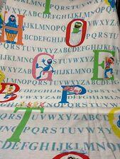Vintage Sesame Street Muppets Alphabet ABCs Twin Flat Sheet