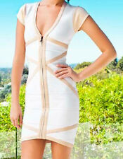 NWT! STRETTA BANDAGE BODYCON V DRESS SEXY NIGHT OUT OPTIC WHITE - SM.
