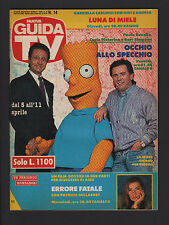 GUIDA TV MONDADORI 14/1992 PAOLO BONOLIS CARLO PISTARINO BART SIMPSON PROGRAMMI