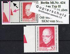 32) Berlin MiNr. 624 ** vom Feld 21 aus Typ II mit zwei Farbkeilen den SKM  RRR