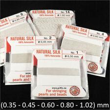Fil de soie 100% naturelle Blanc pour collier de perles avec aiguille d'enfilage