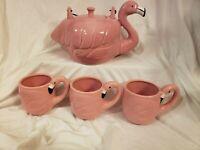 Home Essentials Ceramic Flamingo Teapot with Three Matching Teacups