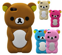 Cartoon Animal 3D Silicone Rubber Case Cover Tpu For iPhone 4 5 5C 6 SE 7 8 Plus