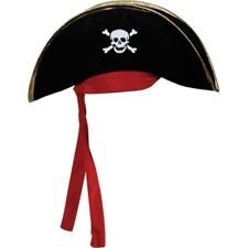 Pirate Hat Black Outfit Accessory for Caribbean Fancy Dress