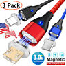US QC3.0 Fast Charger 3A Magnetic USB Charging IOS Cable Micro TYPE-C Quick