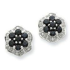 Brand New Sterling Silver Genuine Sapphire & Diamond Earrings