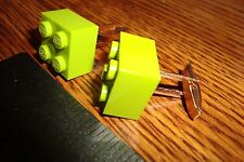 """Lime LEGO Design Cuff links 1 Pair (Two) 5/8"""" x 5/8"""" * Hamilton Gold Plate $3.00"""