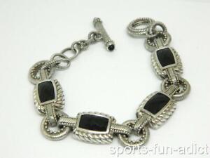 "JUDITH RIPKA Sterling Silver Faceted Black Onyx Bracelet 6.5"""