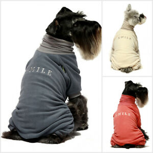 Fitwarm Embroidery Dog Clothes Turtleneck Thermal Fleece Puppy Pajamas Jumpsuit