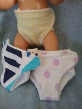 """3 HANDMADE NAPPIES TO FIT ZAPH BABY BORN 17"""" DOLL 7 sets to choose from"""